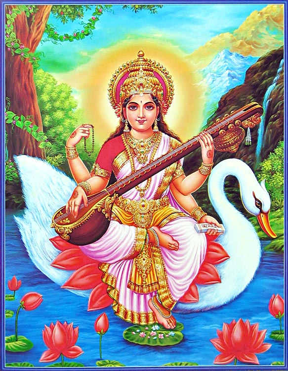 saraswati-sitting-on-her-vahana-swan